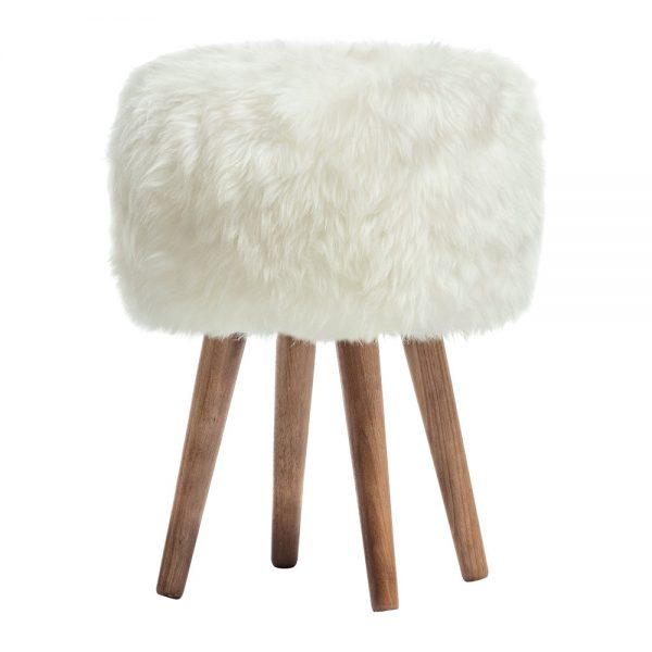 A by Amara - Sheepskin Stool - Ivory