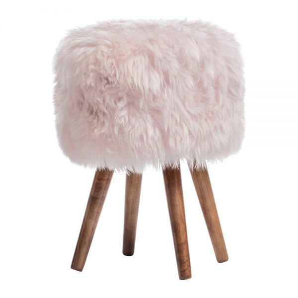 A by Amara - Sheepskin Stool - Pink