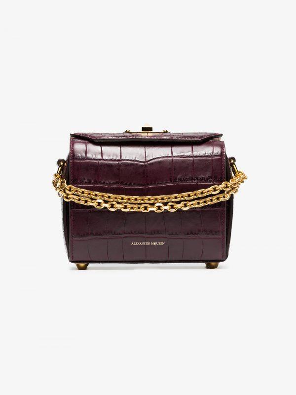 Alexander McQueen dark purple Box 19 crocodile embossed leather bag