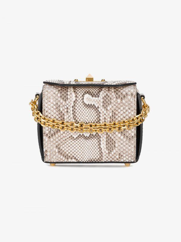 Alexander McQueen grey Box Mini python shoulder bag