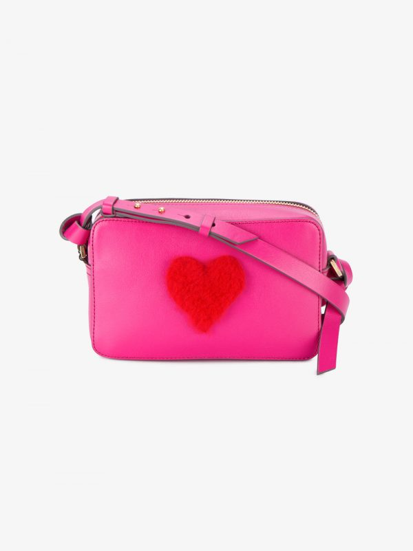 Anya Hindmarch Mini Pink Leather Fur heart bag