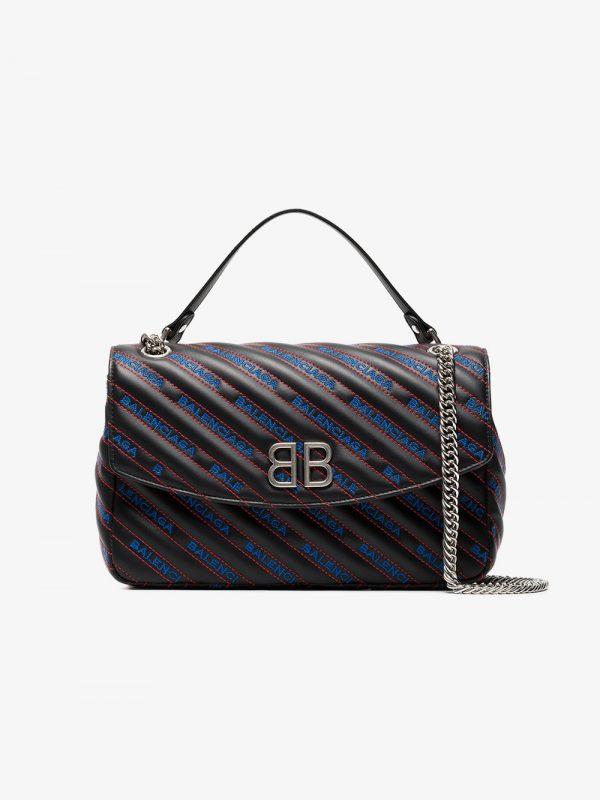Balenciaga Black, Blue And Red BB Charms Matelassé Leather Bag
