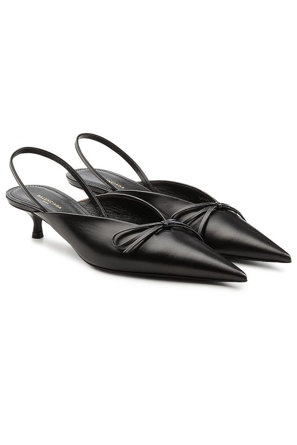 Balenciaga Knife Leather Slingback Kitten Heel Pumps