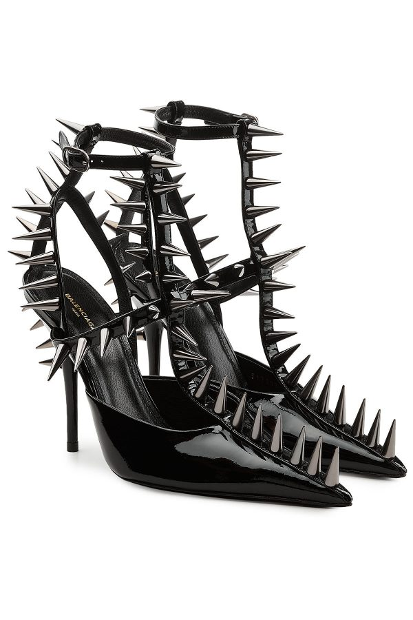 Balenciaga Patent Leather Pumps with Spike Embellishment
