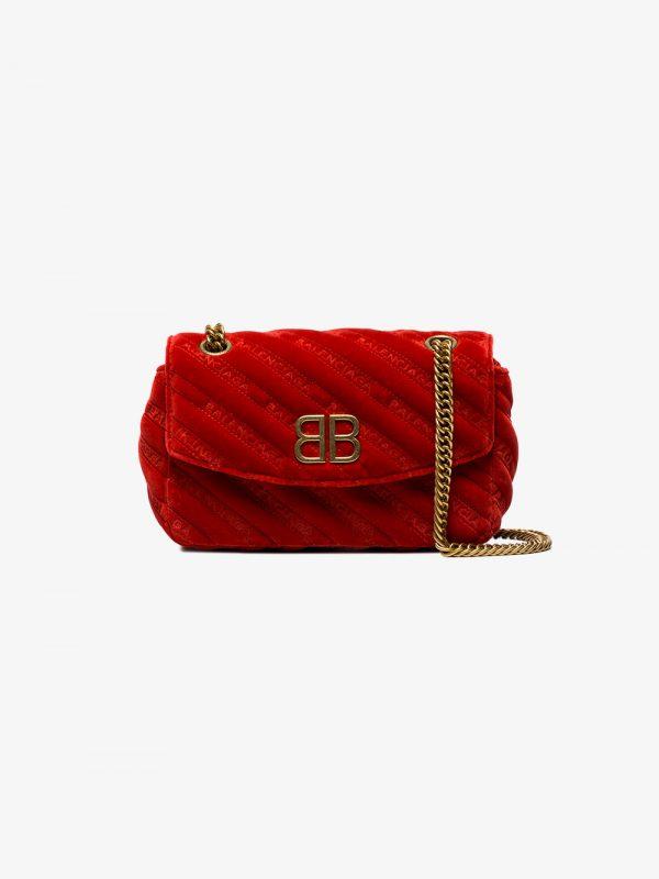 Balenciaga Red Palladium Small Velvet Shoulder Bag