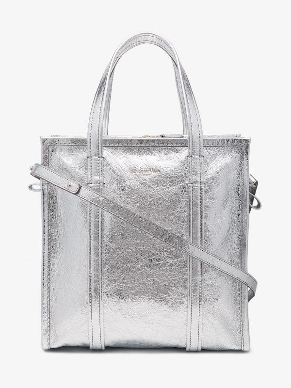 Balenciaga Silver Bazar Shopper Small Leather Tote Bag