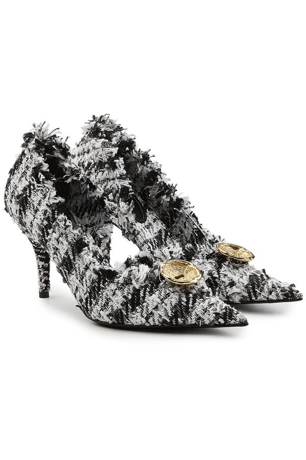 Balenciaga Tweed Pumps with Cut-Out