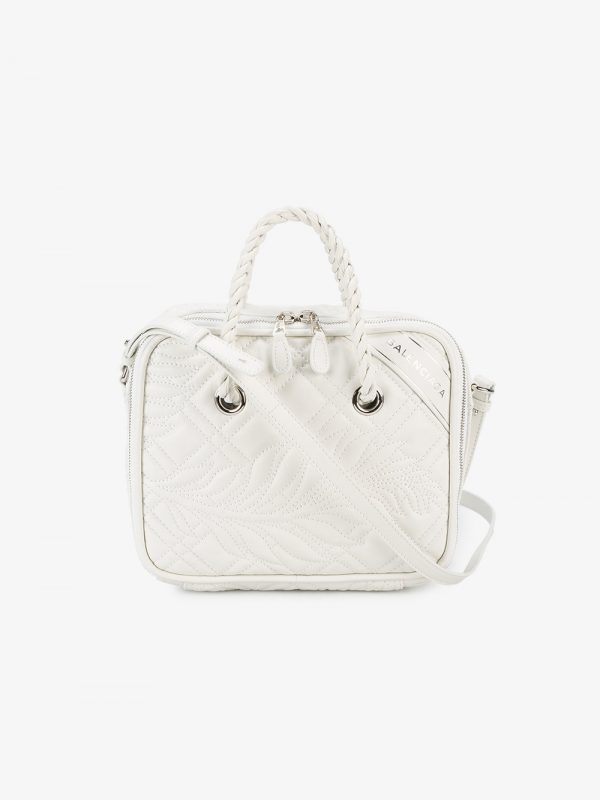 Balenciaga White Blanket Medium Leather Shoulder Bag