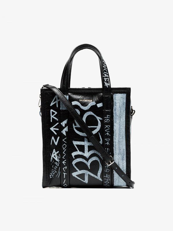 Balenciaga black and white bazar graffiti leather tote bag