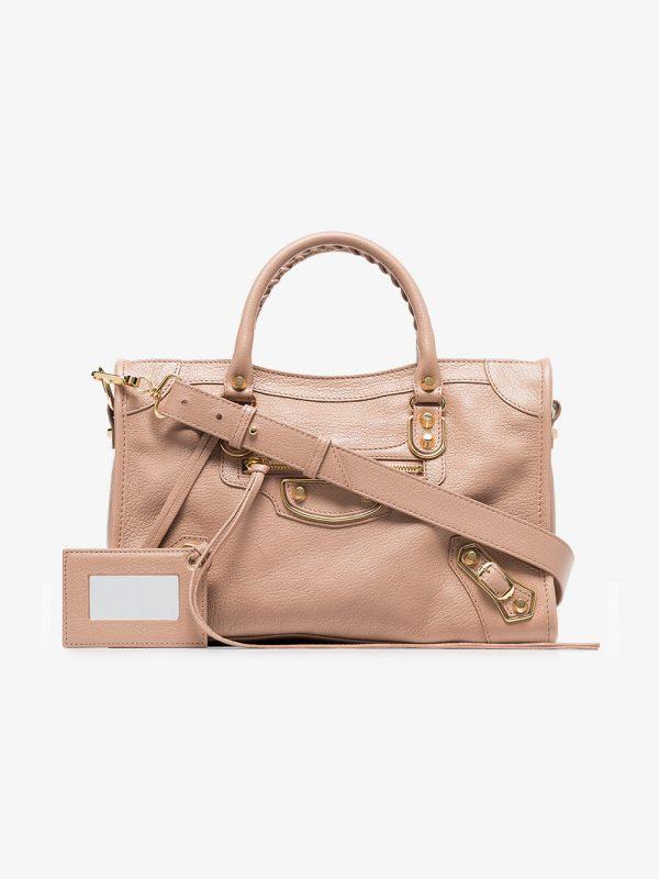 Balenciaga pink metallic edge classic city s aj leather bag