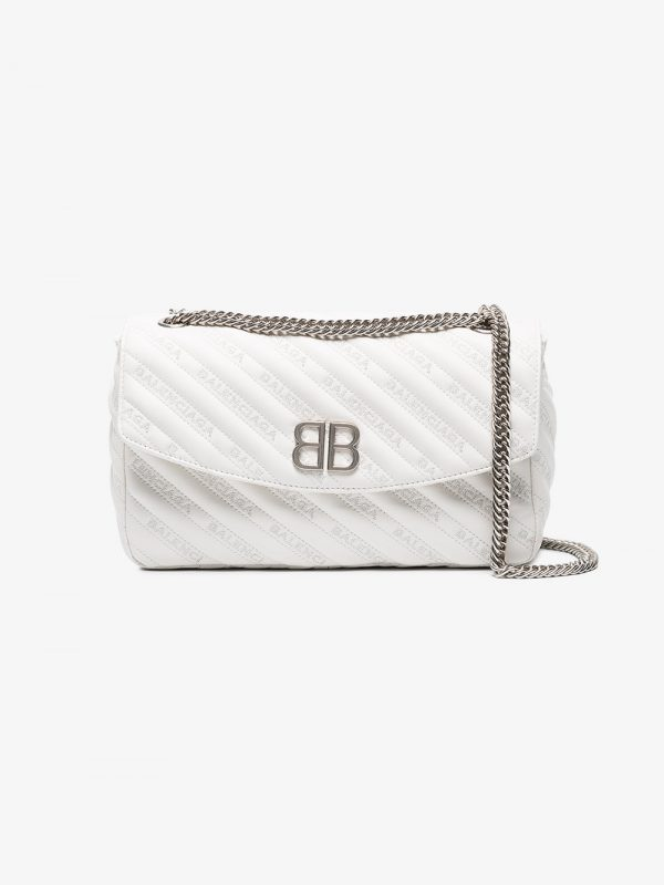 Balenciaga white Palladium Medium leather shoulder bag