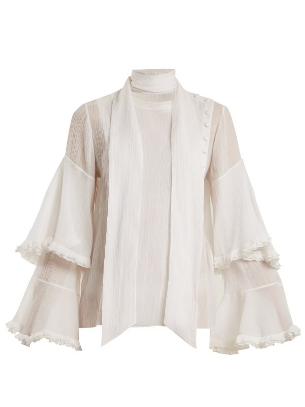 Bell-sleeved tie-neck cotton-blend gauze blouse