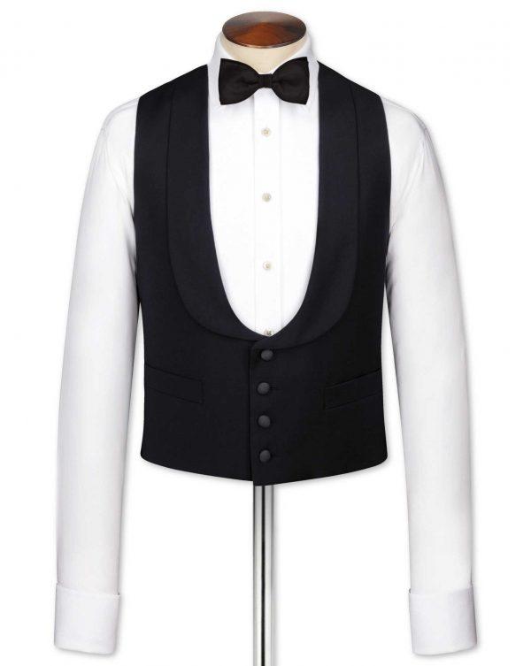 Black Adjustable Fit Shawl Collar Tuxedo Wool Waistcoat Size w42 by Charles Tyrwhitt