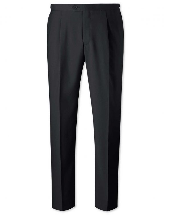 Black Classic Fit Tuxedo Trousers Size W32 L32 by Charles Tyrwhitt