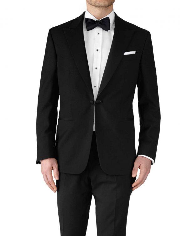 Black Slim Fit Peak Lapel Tuxedo Wool Jacket Size 42 Long by Charles Tyrwhitt