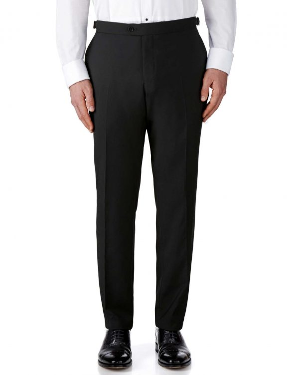 Black Slim Fit Tuxedo Trousers Size W38 L32 by Charles Tyrwhitt