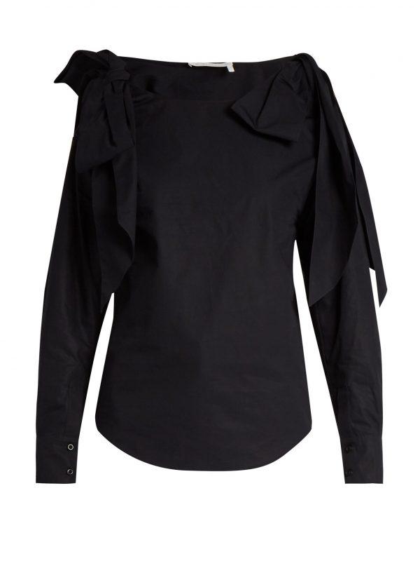 Bow-shoulder cotton top