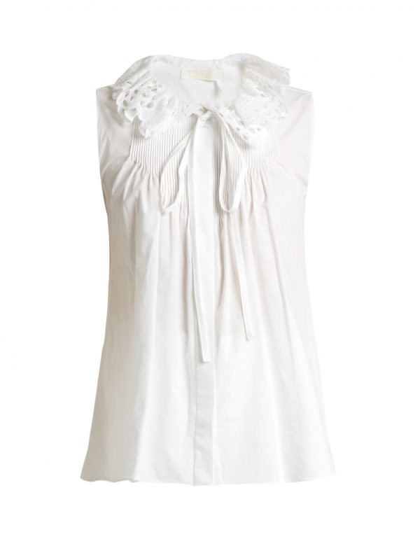Broderie anglaise-collar cotton-poplin top