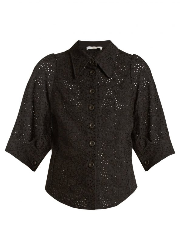 Broderie-anglaise point-collar shirt