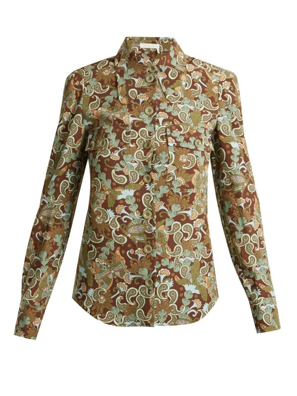 Butterfly Garden Party-print crepe blouse