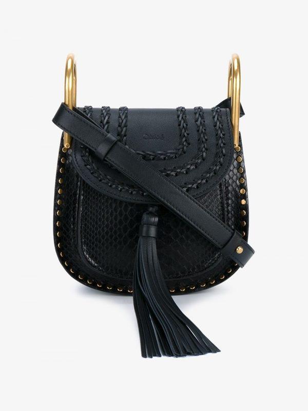 Chloé Mini Hudson Studded Leather & Python Bag