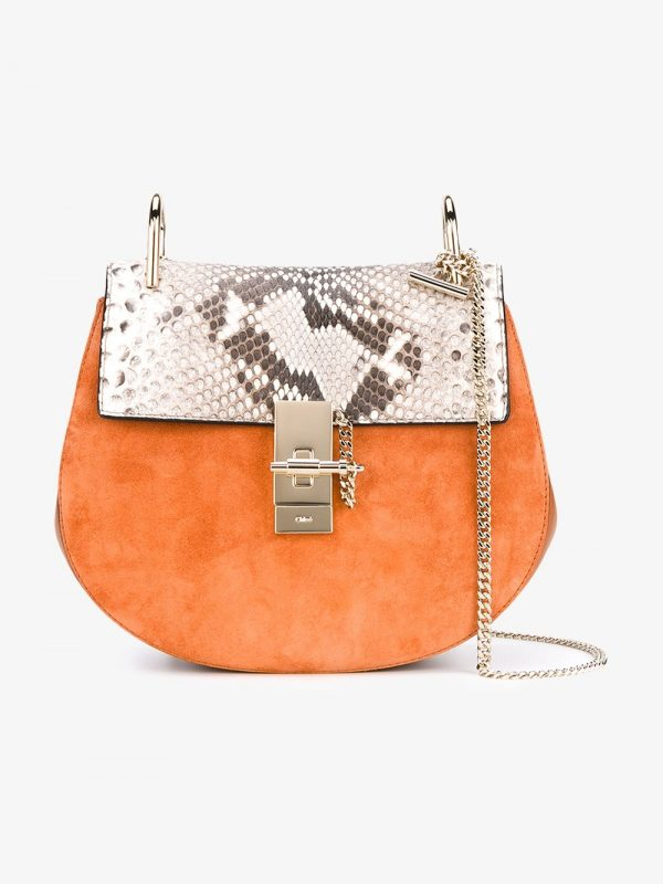 Chloé Tan Snake Drew Suede Shoulder Bag