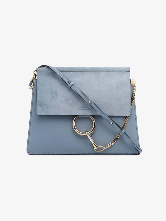 Chloé blue Faye medium leather and suede shoulder bag