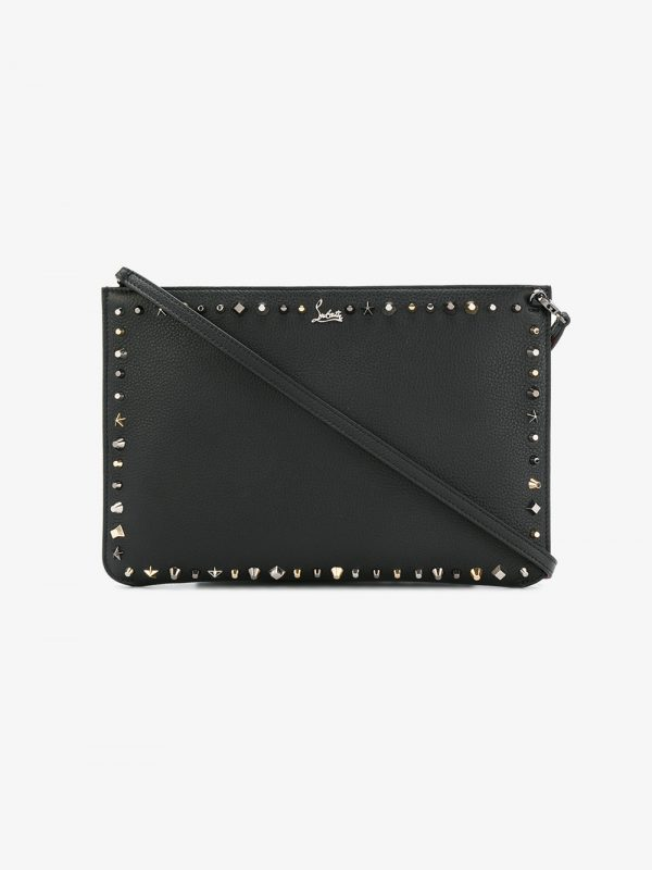 Christian Louboutin Black Empire Trash leather clutch bag
