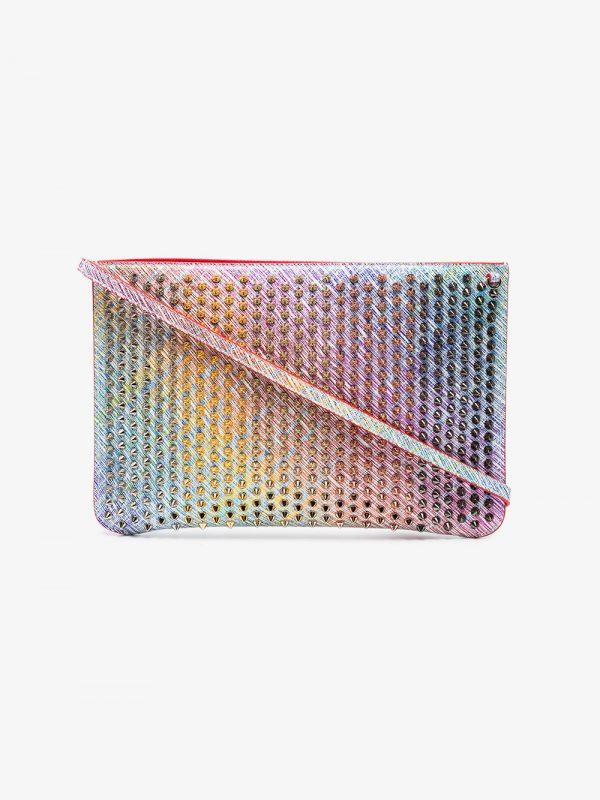 Christian Louboutin Multicoloured Unicorn Spike Leather Clutch Bag