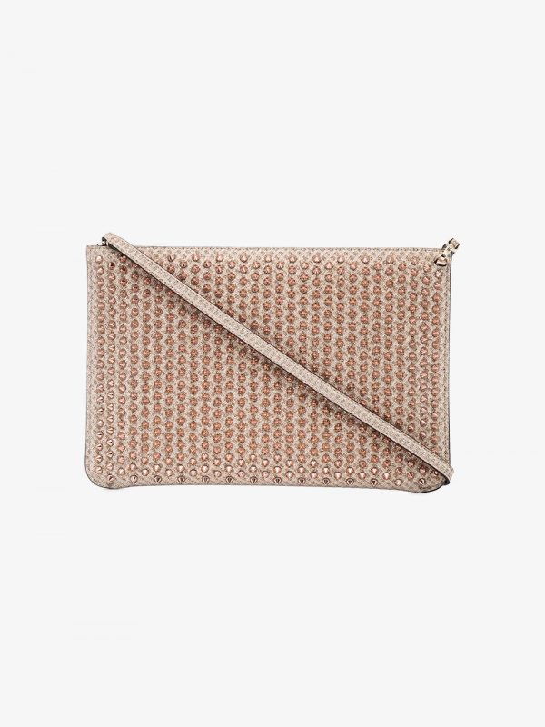 Christian Louboutin Rose Gold Quadro spike Clutch bag