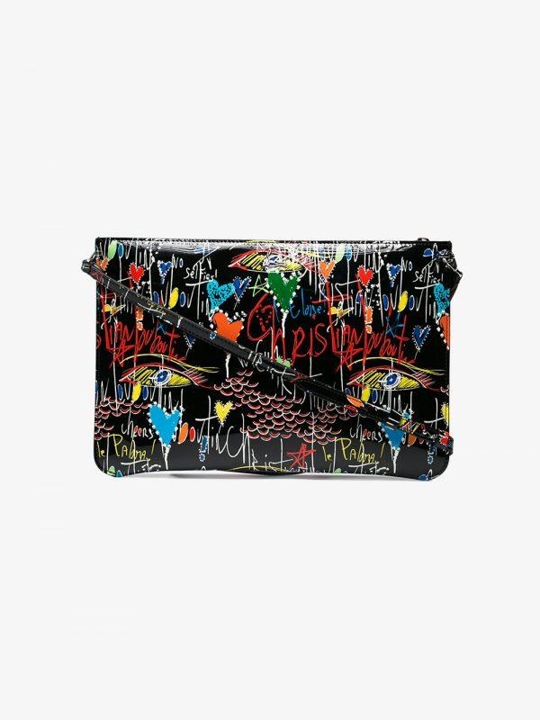 Christian Louboutin graffiti patent leather clutch bag