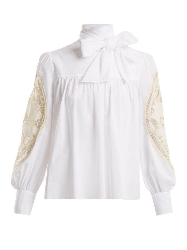 Crotchet-embellished cotton blouse