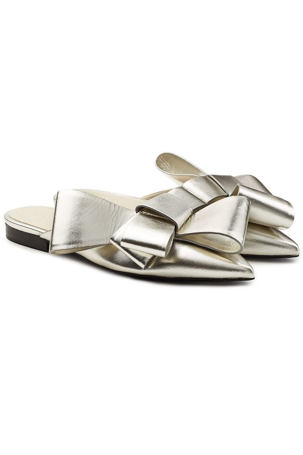 Delpozo Metallic Leather Slip-On Mules