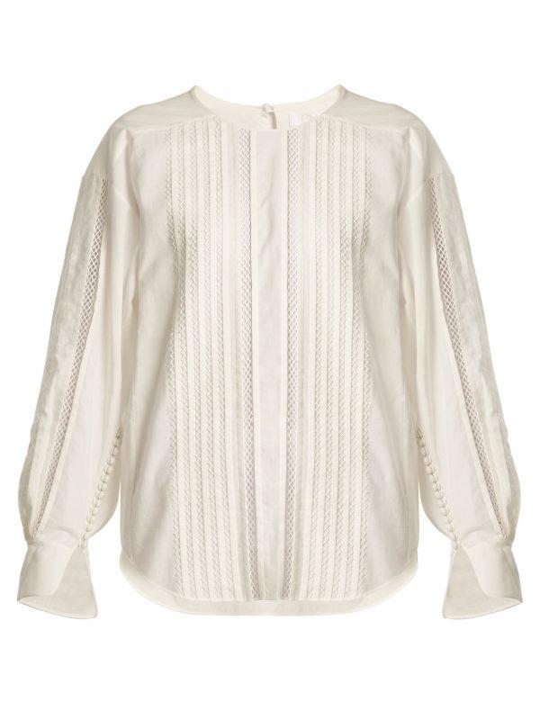 Diamond-lace trimmed cotton top