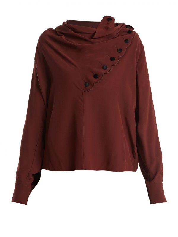 Draped-neck silk crepe de Chine blouse