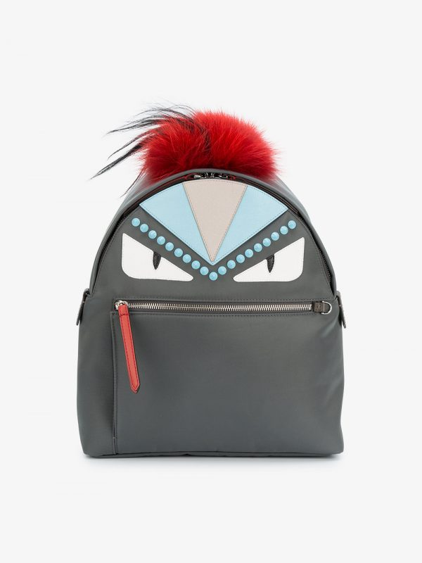 Fendi Grey Bag Bugs Leather backpack