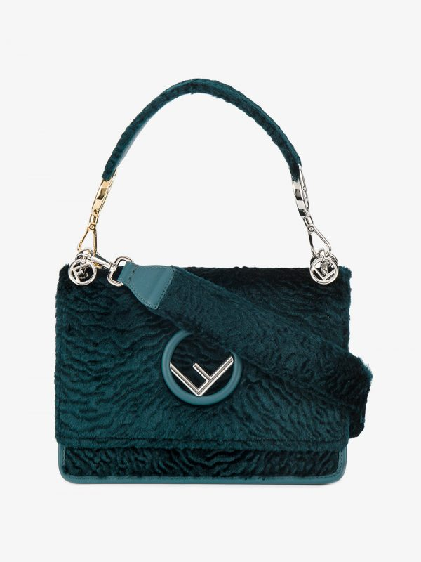 Fendi Teal Kan I F Velvet shoulder bag