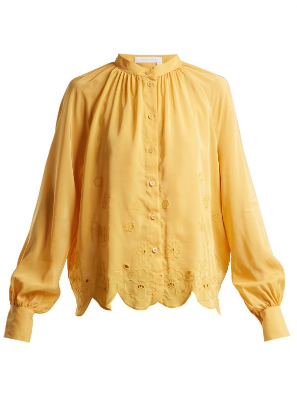 Floral-embroidered satin-crepe blouse