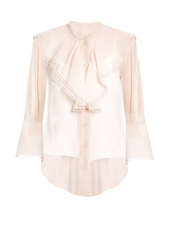 Fluted-bib silk-crepon blouse