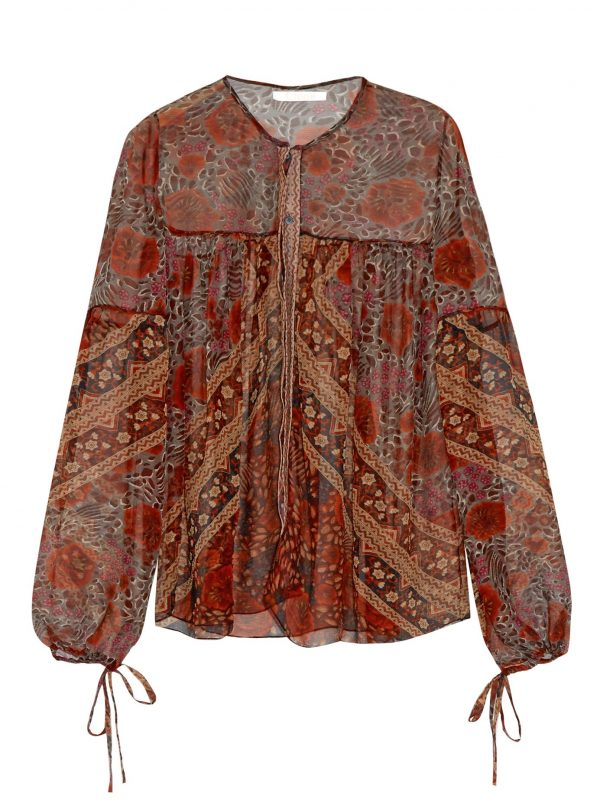 Foulard-print sheer silk blouse