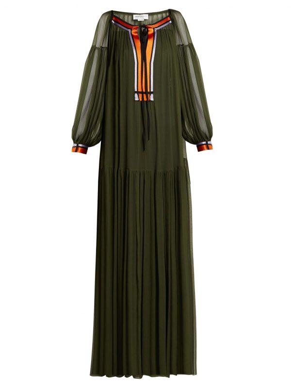 Gathered silk crepe de Chine maxi dress