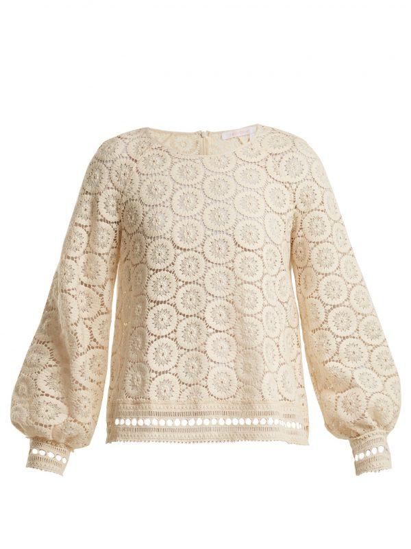 Geometric-lace cotton blouse