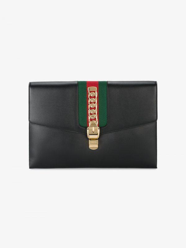 Gucci Black Sylvie maxi leather clutch bag
