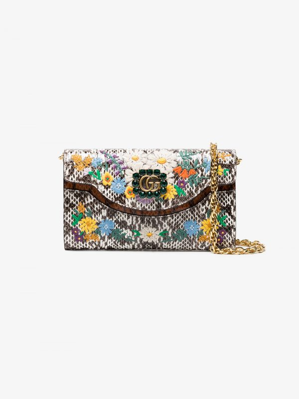 Gucci Floral embroidered small snakeskin shoulder bag