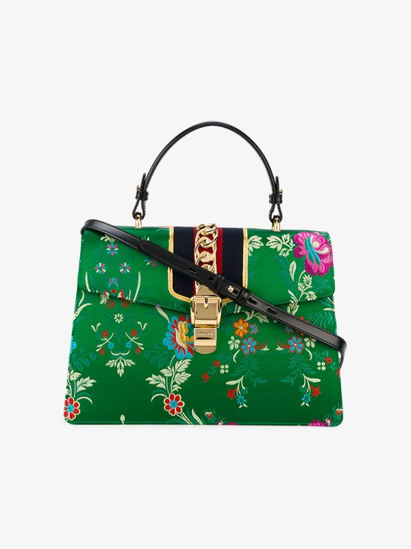 Gucci Green Floral Sylvie Satin Tote Bag