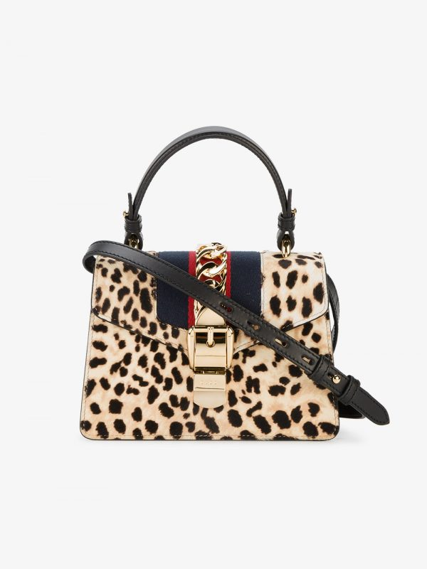 Gucci Leopard Sylvie Mini Pony Tote Bag