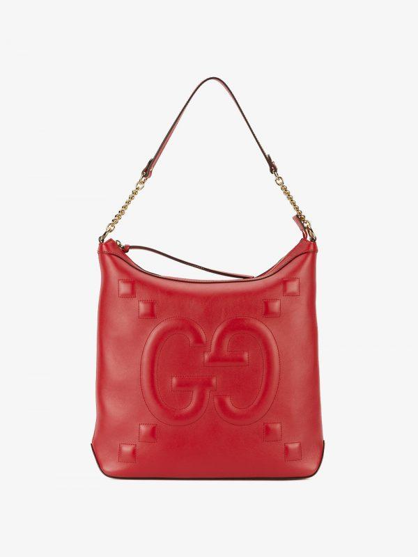 Gucci Red embossed GG leather shoulder bag