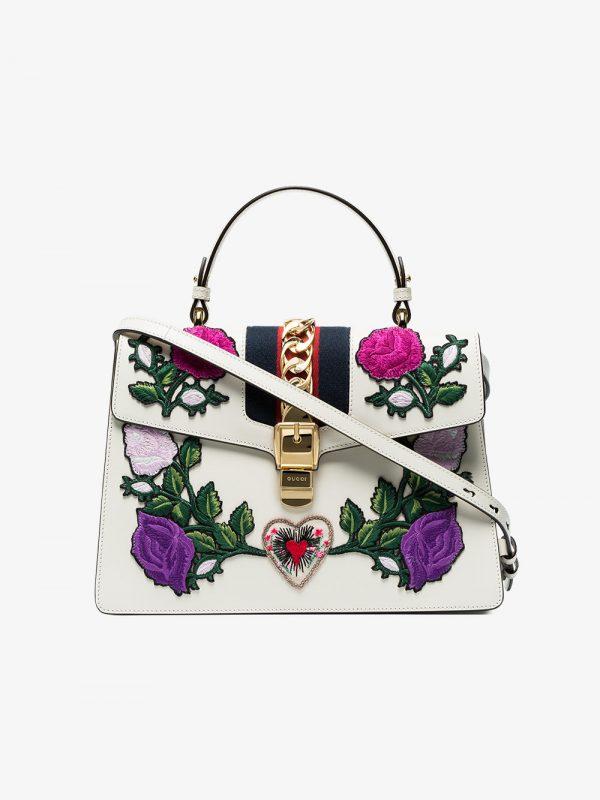 Gucci White Embroidered Sylvie Medium Tote bag