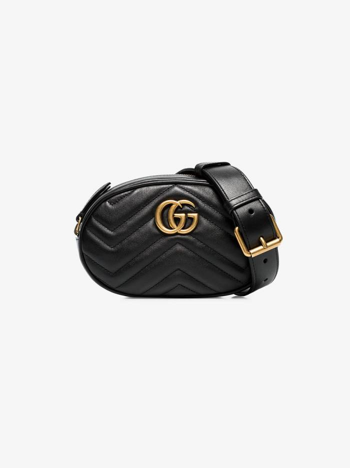 Gucci black GG marmont leather belt bag