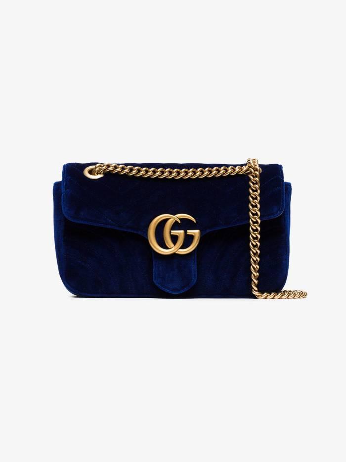 Gucci blue Marmont small quilted velvet shoulder bag